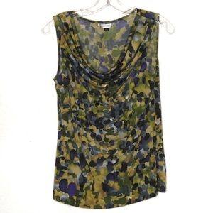 Tahari blue print sleeveless top size small